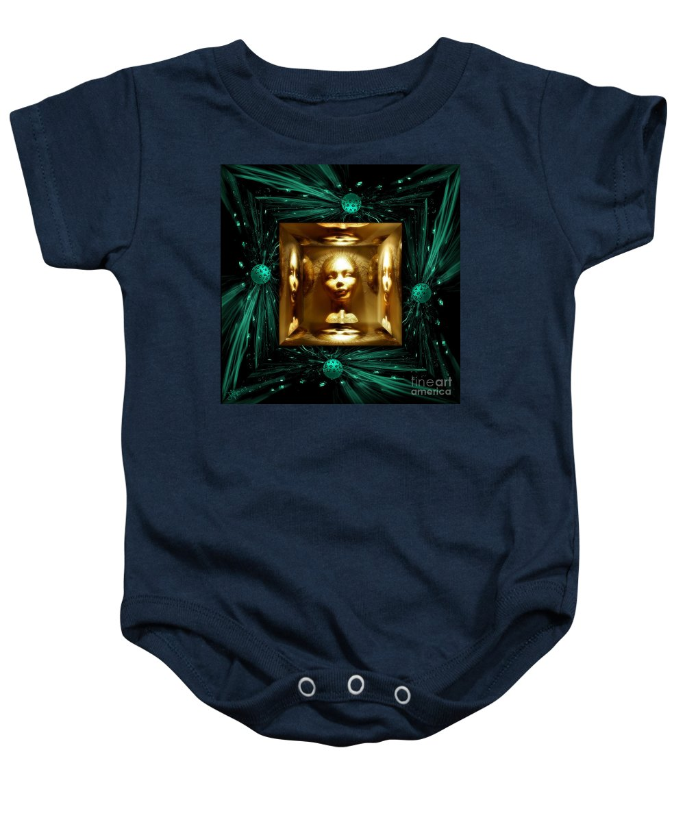 Fantasy Baby Onesie featuring the digital art Thoughts Mirror Box by Rosa Cobos