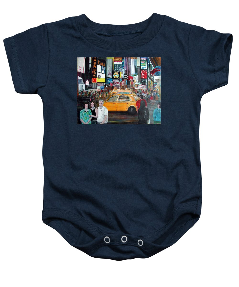 New York City Baby Onesie featuring the painting Times Square by Anna Ruzsan
