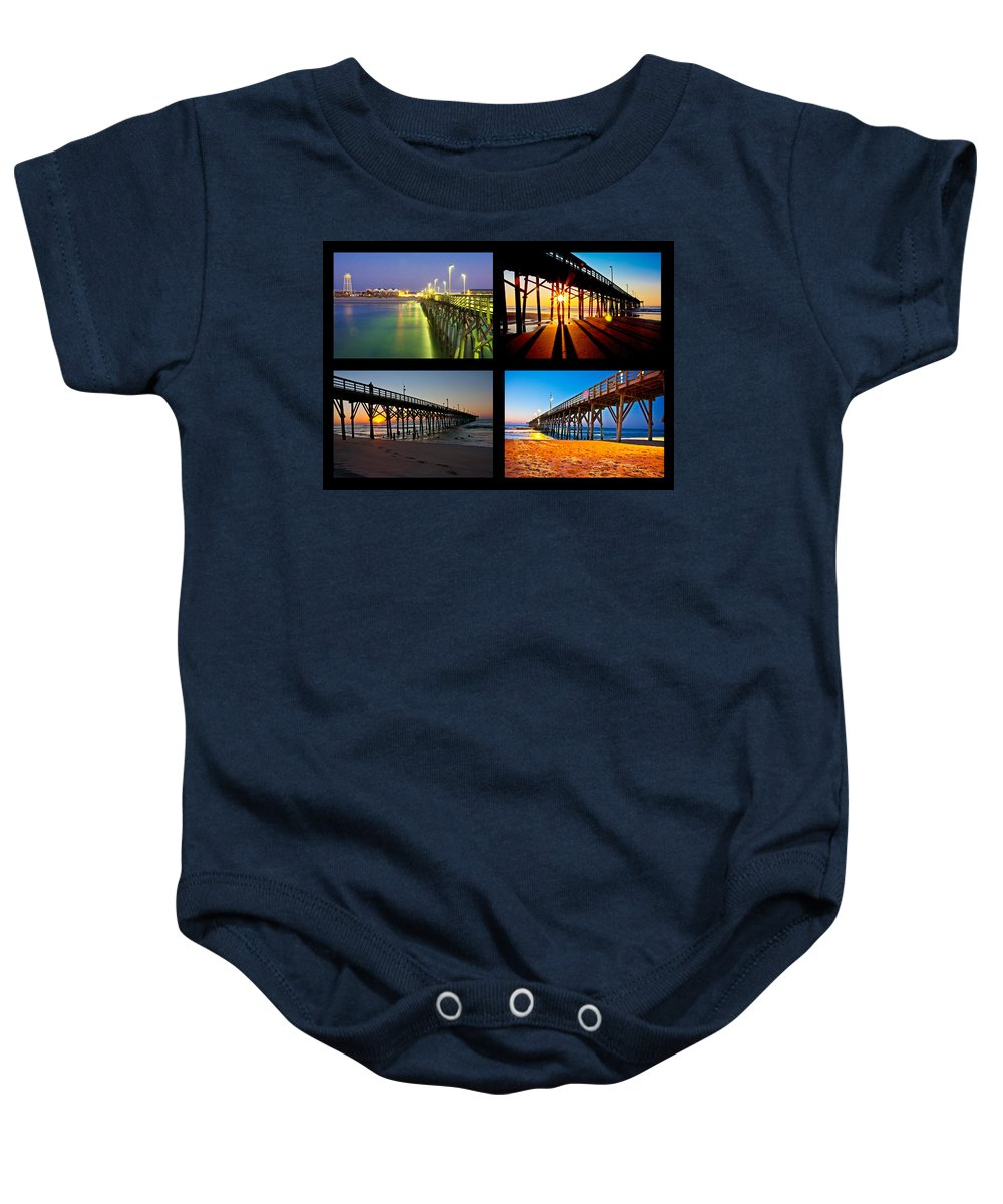 Topsail Baby Onesie featuring the photograph Topsail Piers At Sunrise by Betsy Knapp