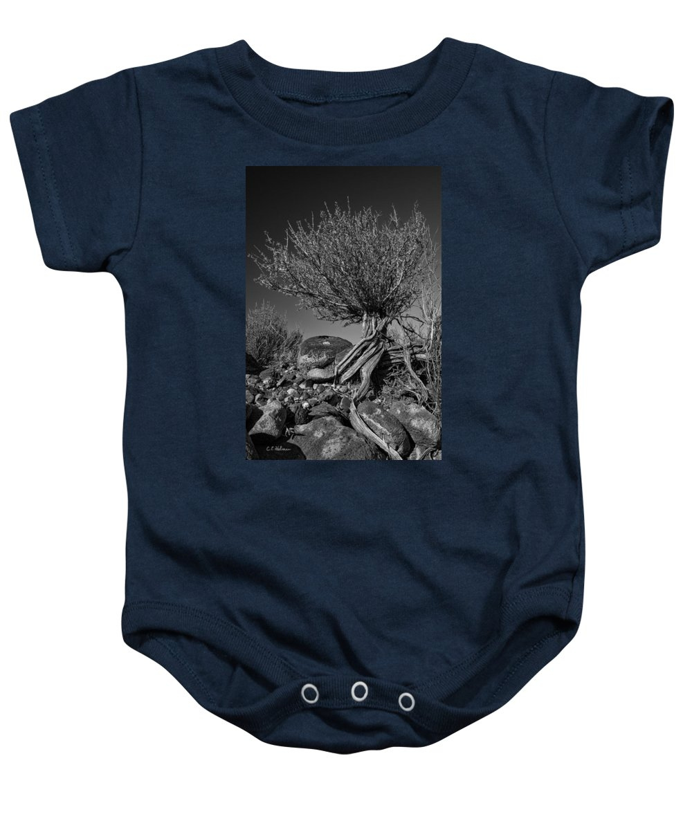 Monotone Baby Onesie featuring the photograph Twisted Beauty - Bw by Christopher Holmes