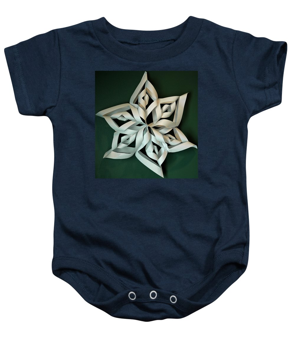 Usa Baby Onesie featuring the photograph Twisted Paper Christmas Star by LeeAnn McLaneGoetz McLaneGoetzStudioLLCcom