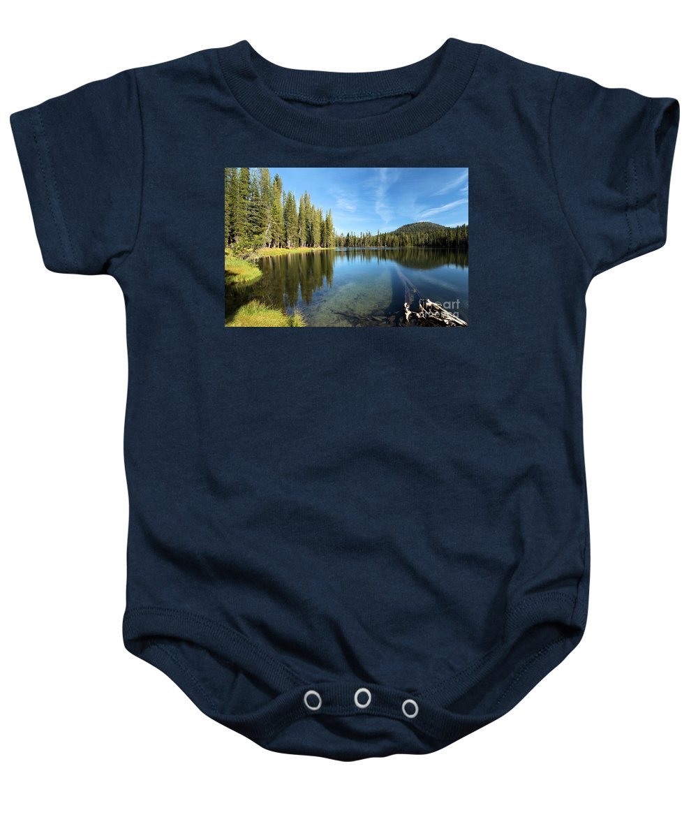 Summit Lake Baby Onesie featuring the photograph Under The Surface by Adam Jewell