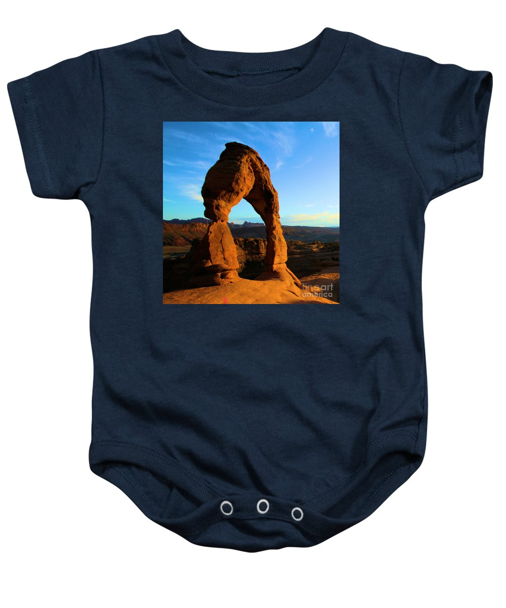 Delicate Arch Baby Onesie featuring the photograph Utah Landmark by Adam Jewell