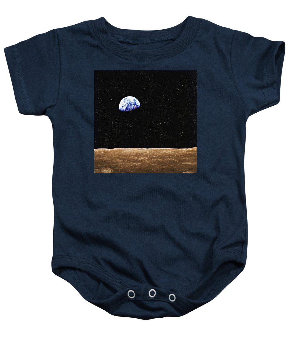 Atmosphere Baby Onesie featuring the photograph View Of Earth From The Moons Surface by Don Hammond