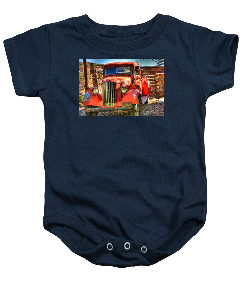 Truck Baby Onesie featuring the photograph Vintage Red Dodge by Jon Berghoff