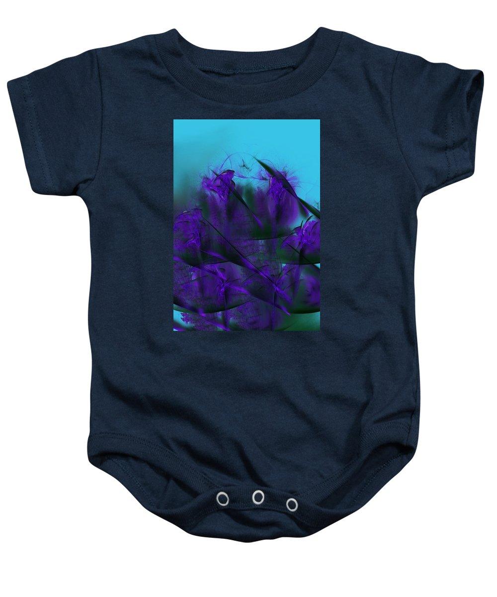 Fine Art Baby Onesie featuring the digital art Violet Growth by David Lane