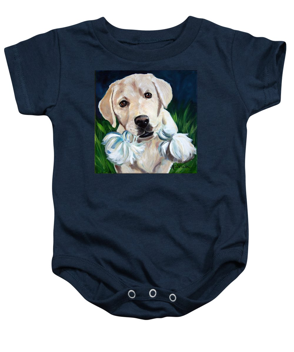 Art Baby Onesie featuring the painting Wanna Play by Mary Sparrow