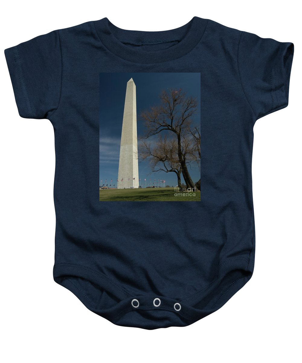 Washington Monument Baby Onesie featuring the photograph Washington Monument's World Famous Kite Eating Tree by Tim Mulina