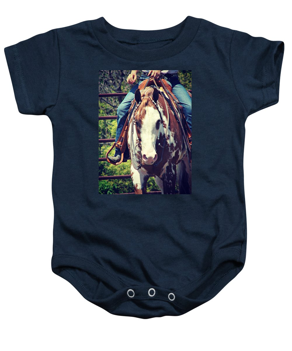 Horse Baby Onesie featuring the photograph Western Paint Horse by Cassie Peters