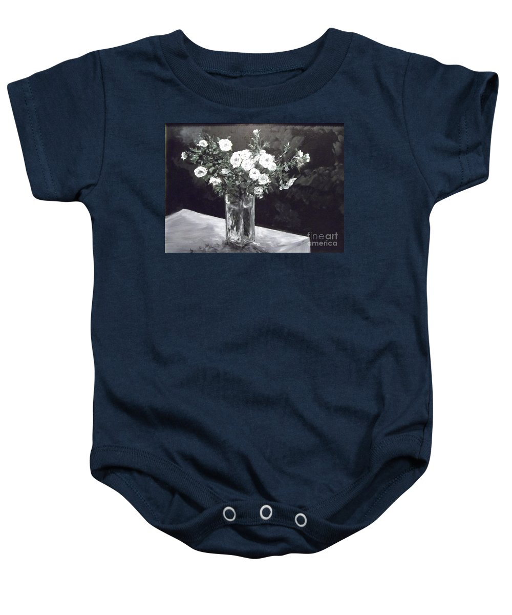Rose Baby Onesie featuring the painting White Ramblers by Lizzy Forrester