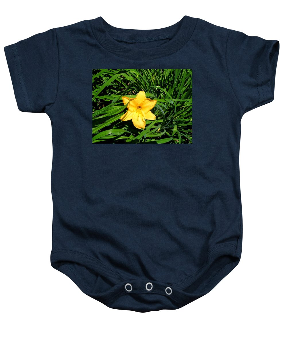 Lily Baby Onesie featuring the photograph Yellow Lily by April Patterson