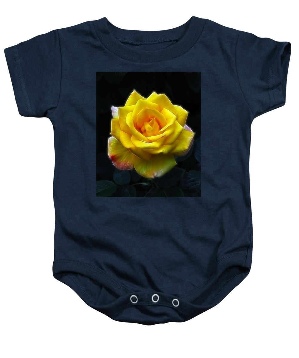 Yellow Rose In The Moonlight.rose Baby Onesie featuring the photograph Yellow Rose In The Moonlight by Georgiana Romanovna