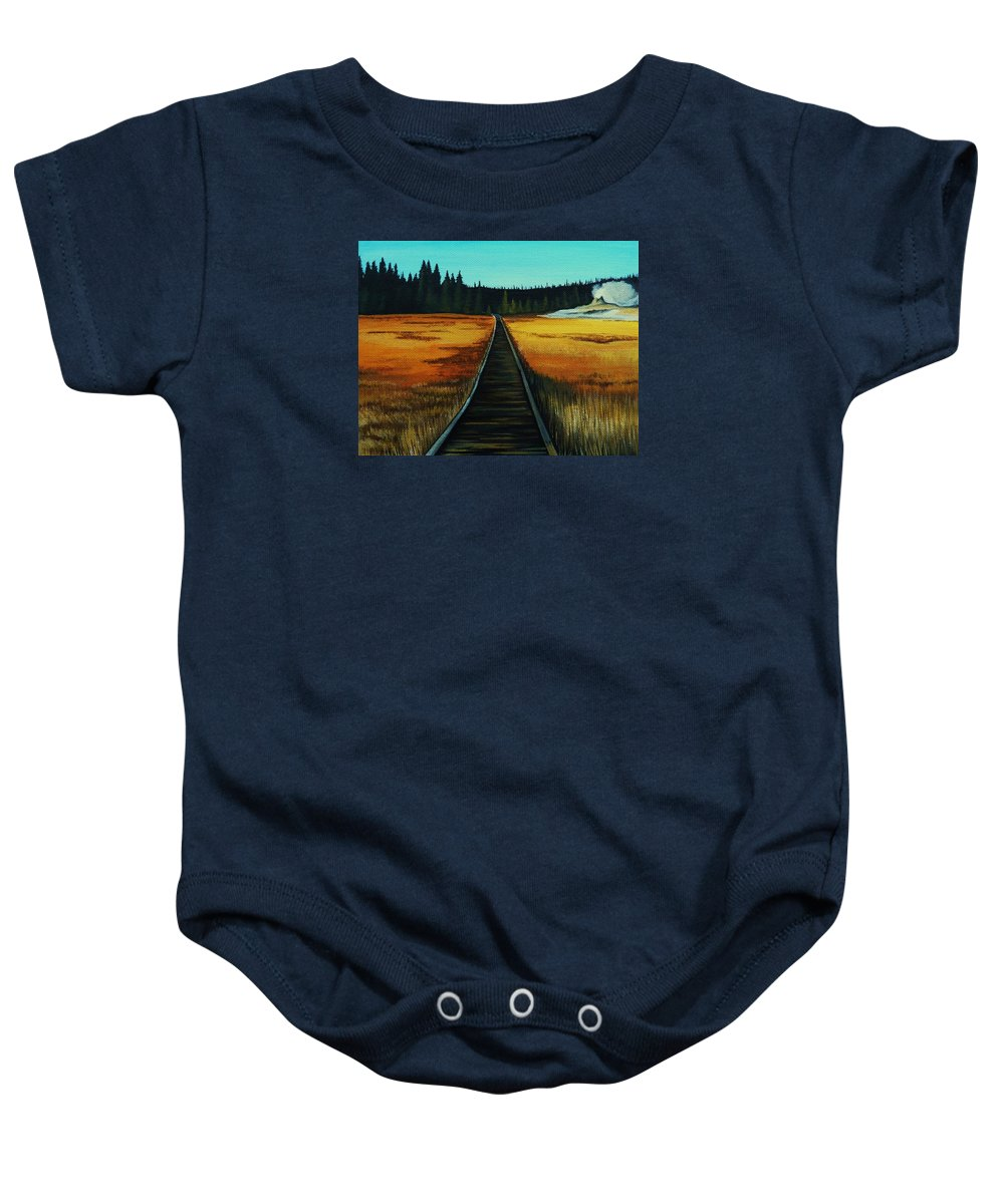 Yellowstone Baby Onesie featuring the painting Yellowstone Boardwalk by Lucy Deane