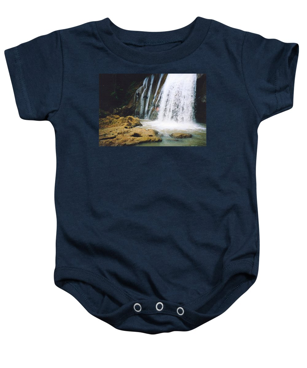 Jamaica Baby Onesie featuring the photograph YS Falls4 Jamaica by Debbie Levene