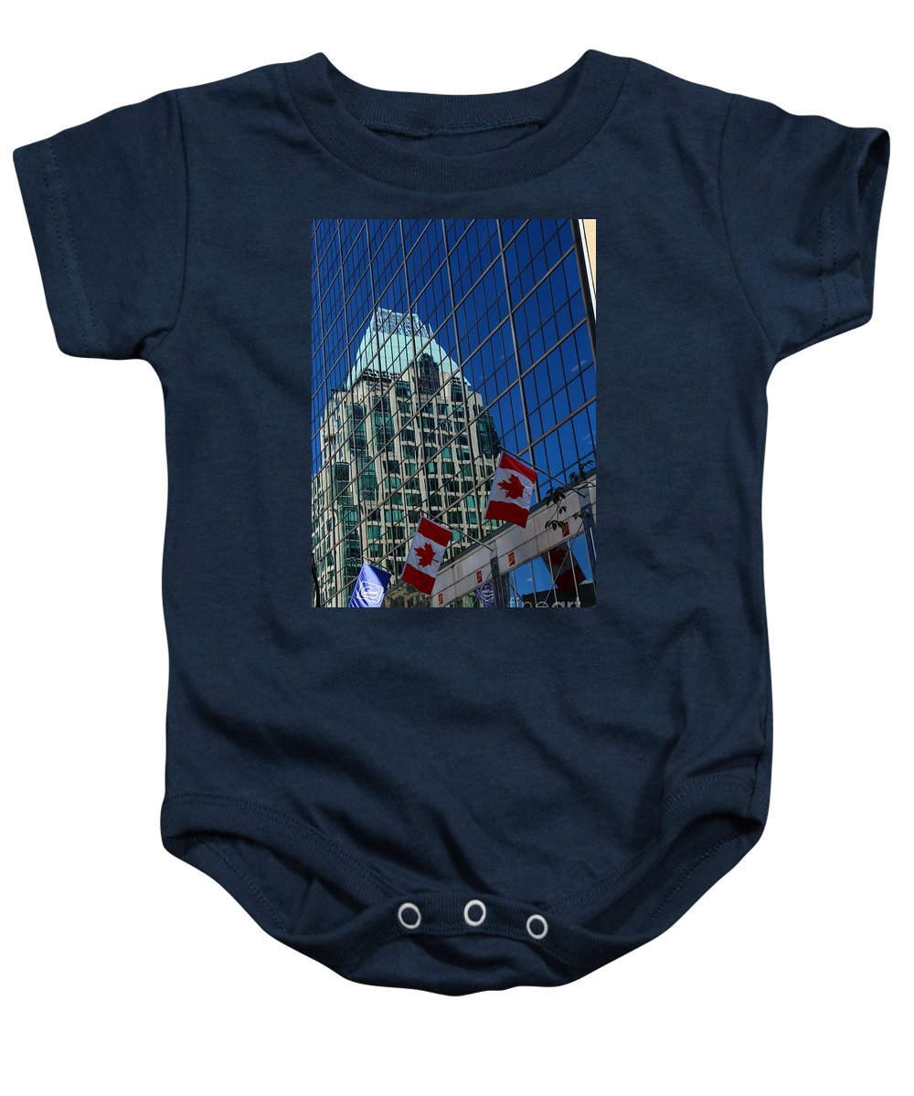 Canada Baby Onesie featuring the photograph Modern Architecture - City Reflection Vancouver by Christiane Schulze Art And Photography