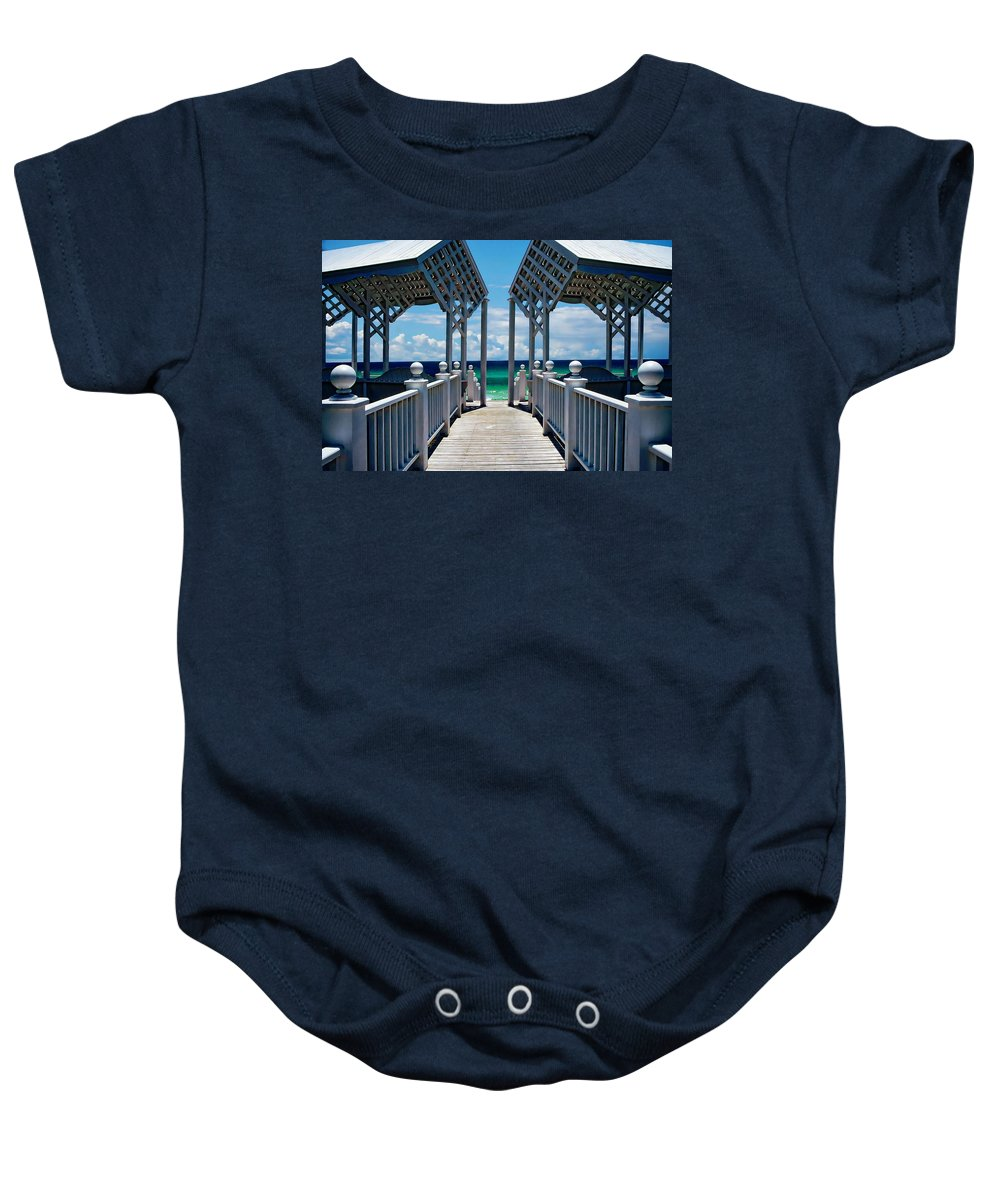 Architecture Baby Onesie featuring the photograph Oceanfront Pavilion by Anthony Dezenzio