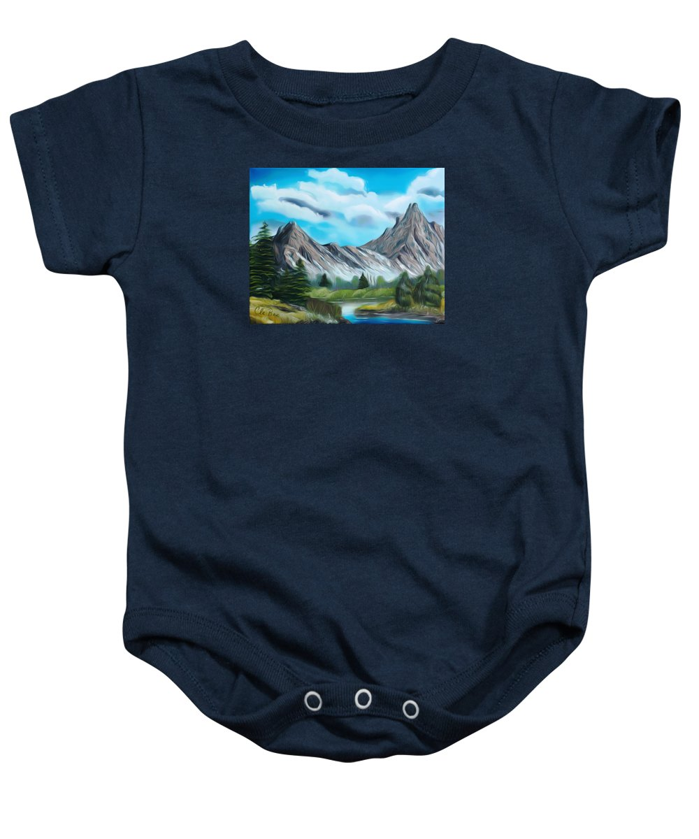 Mountain Baby Onesie featuring the painting Rocky Mountain Tranquil Escape Dreamy Mirage by Claude Beaulac