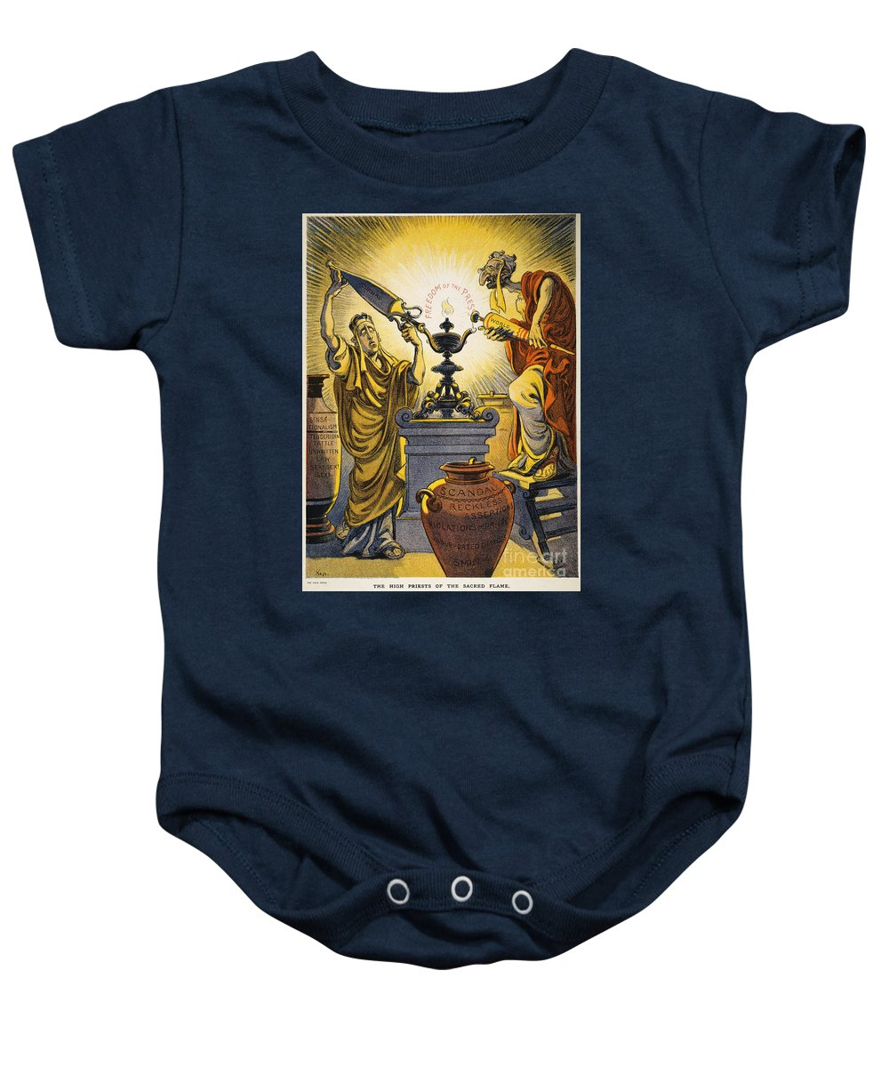 1909 Baby Onesie featuring the painting Yellow Journalism, 1909 by Granger