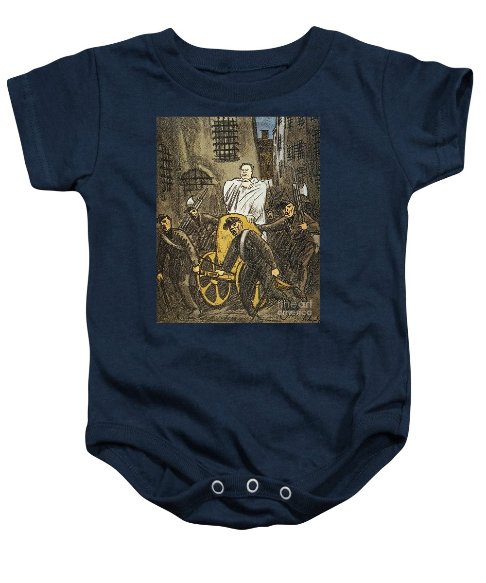 1925 Baby Onesie featuring the painting Benito Mussolini Cartoon by Granger