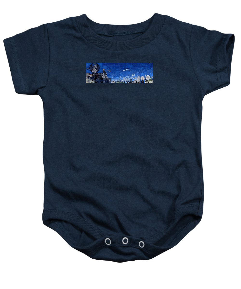 Tetragon Baby Onesie featuring the digital art Abstract Painting - Yale Blue by Vitaliy Gladkiy