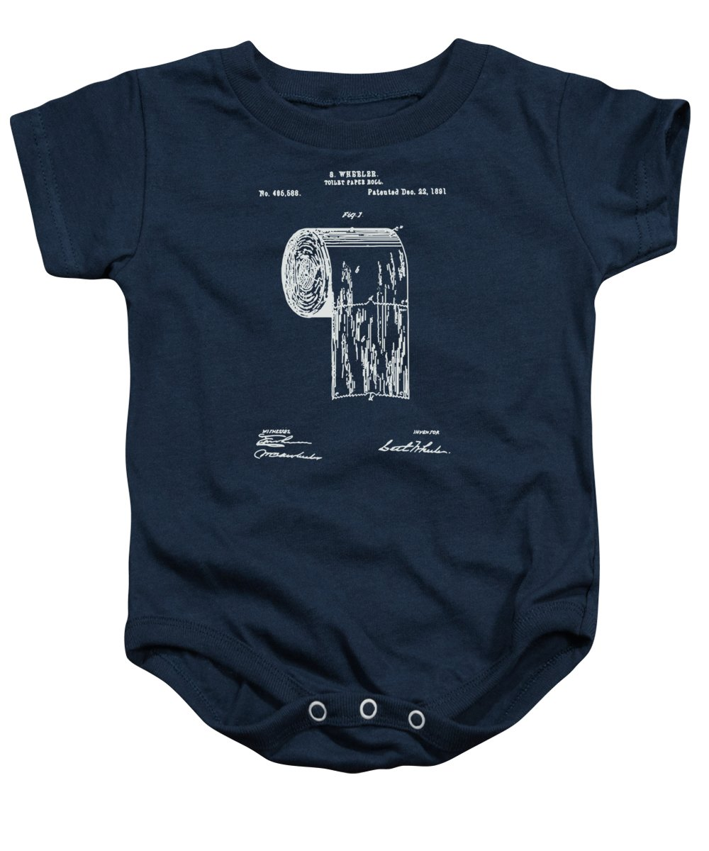 Antique toilet paper roll blueprint patent illustration onesie for bathroom art baby onesie featuring the painting antique toilet paper roll blueprint patent illustration by tina malvernweather Images