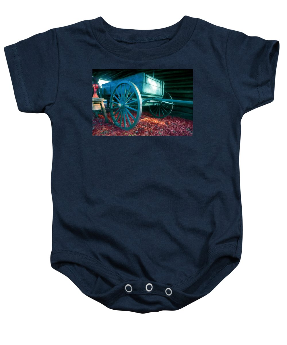 Blue Baby Onesie featuring the photograph Blue Wagon by David Lee Thompson