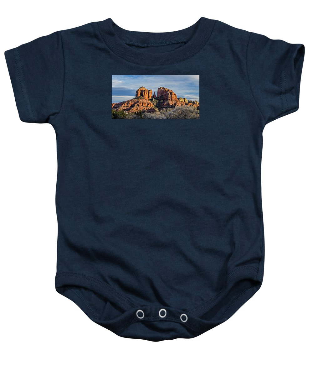 Panoramic Baby Onesie featuring the photograph Cathedral Rock, Sedona - 2 by Tom Clark