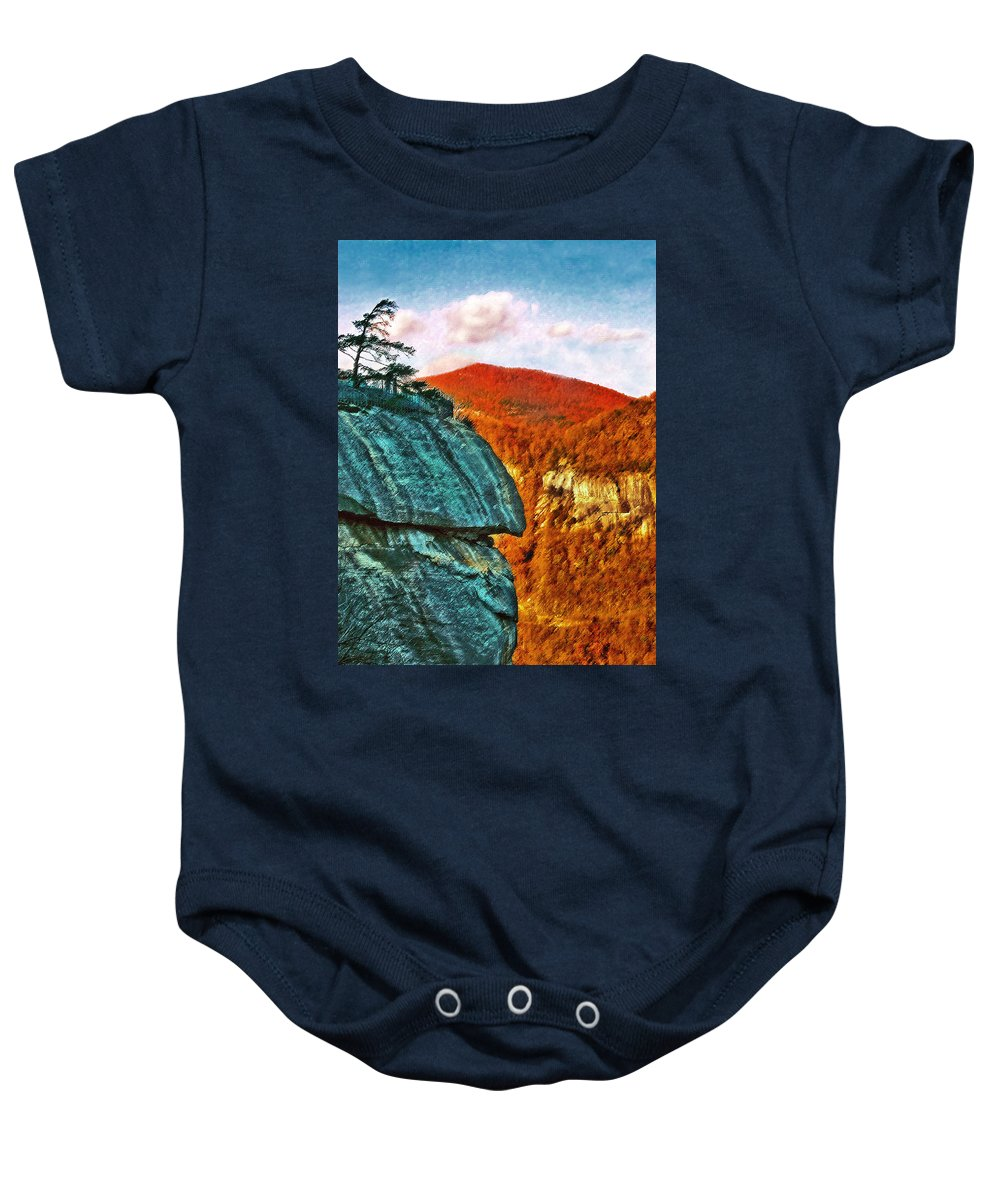 Landscape Baby Onesie featuring the painting Chimney Rock by Steve Karol