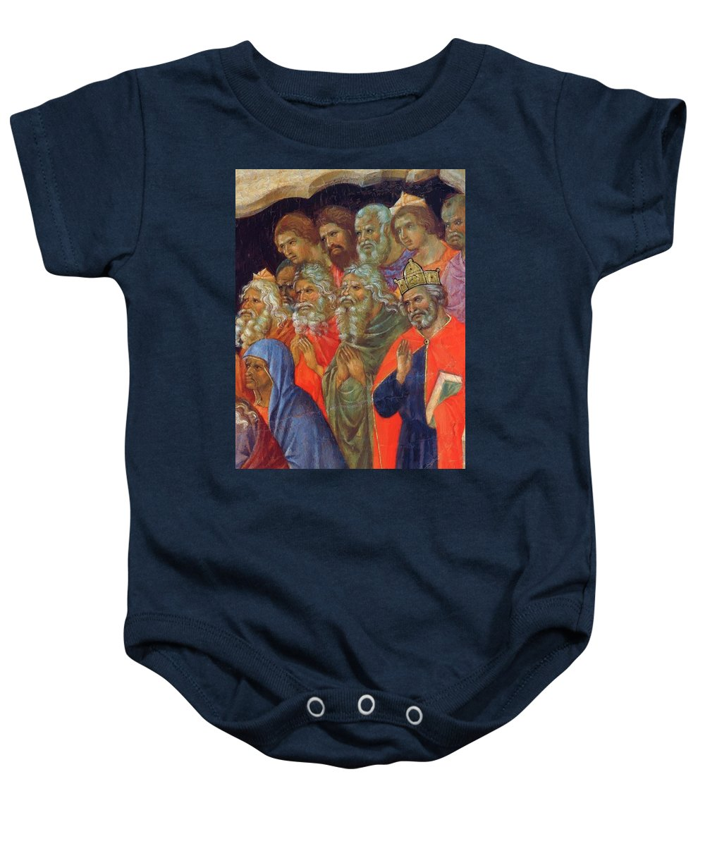 Descent Baby Onesie featuring the painting Descent Into Hell Fragment 1311 by Duccio