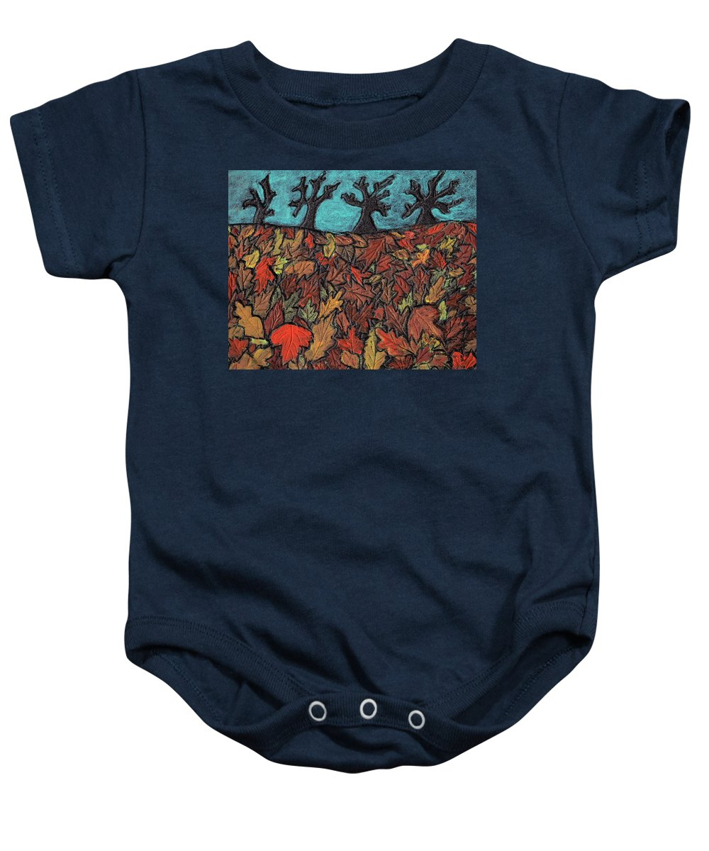Leaves Baby Onesie featuring the painting Finding Autumn Leaves by Wayne Potrafka