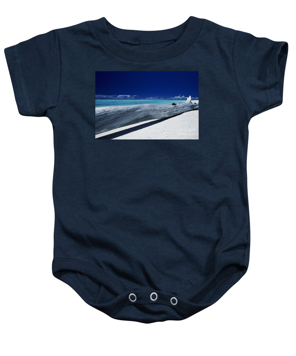 Ashore Baby Onesie featuring the photograph French Polynesia, Tetiaro by Larry Dale Gordon - Printscapes
