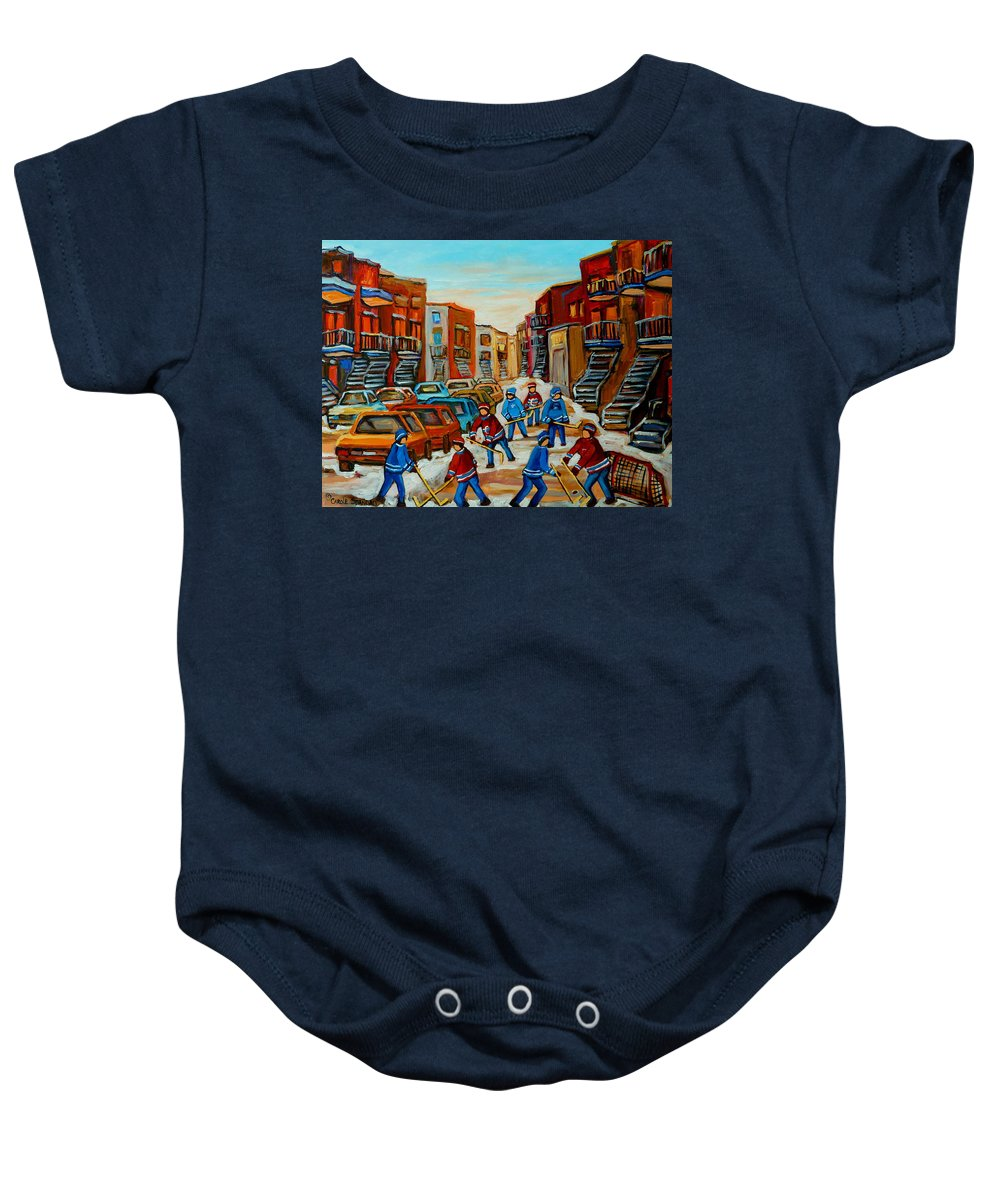 Heat Of The Game Baby Onesie featuring the painting Heat Of The Game by Carole Spandau