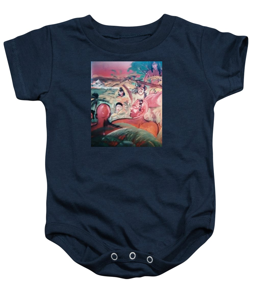 Man Baby Onesie featuring the painting Hunting Series by Sylvester Wofford