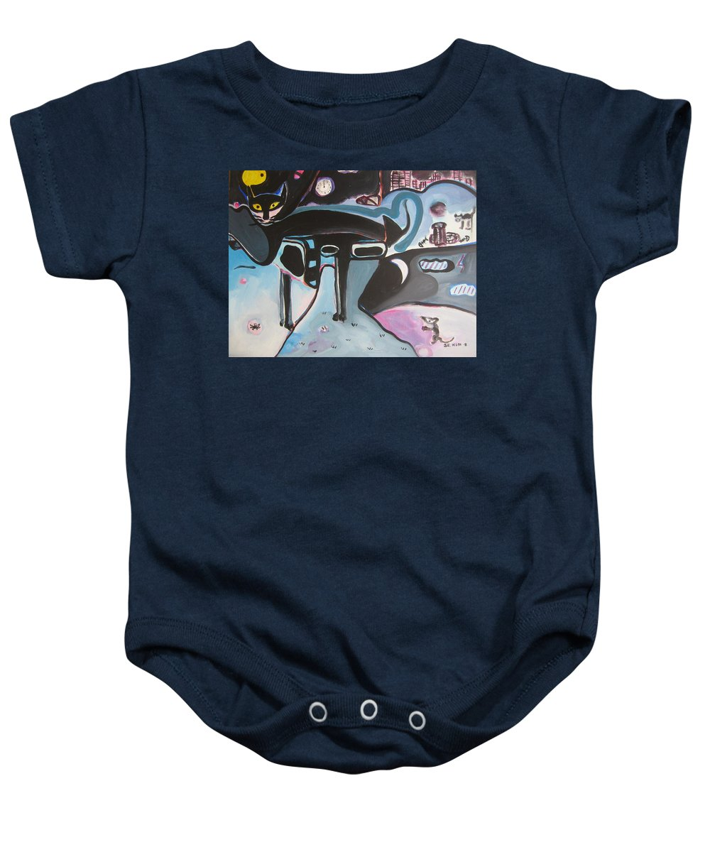 Cat Paintings Baby Onesie featuring the painting Let Me Out by Seon-Jeong Kim