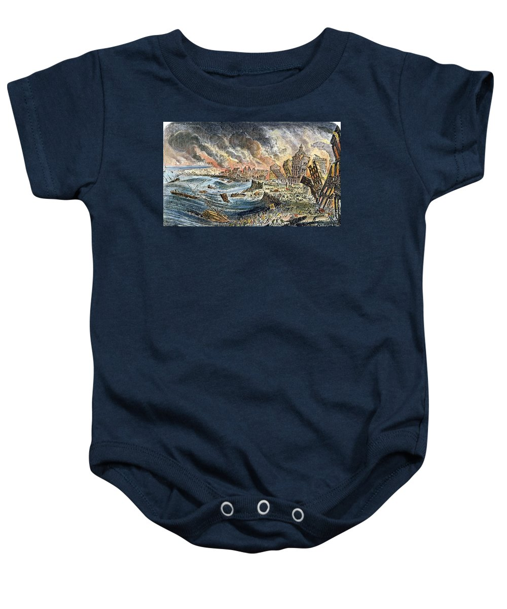 1755 Baby Onesie featuring the photograph Lisbon Earthquake, 1755 by Granger