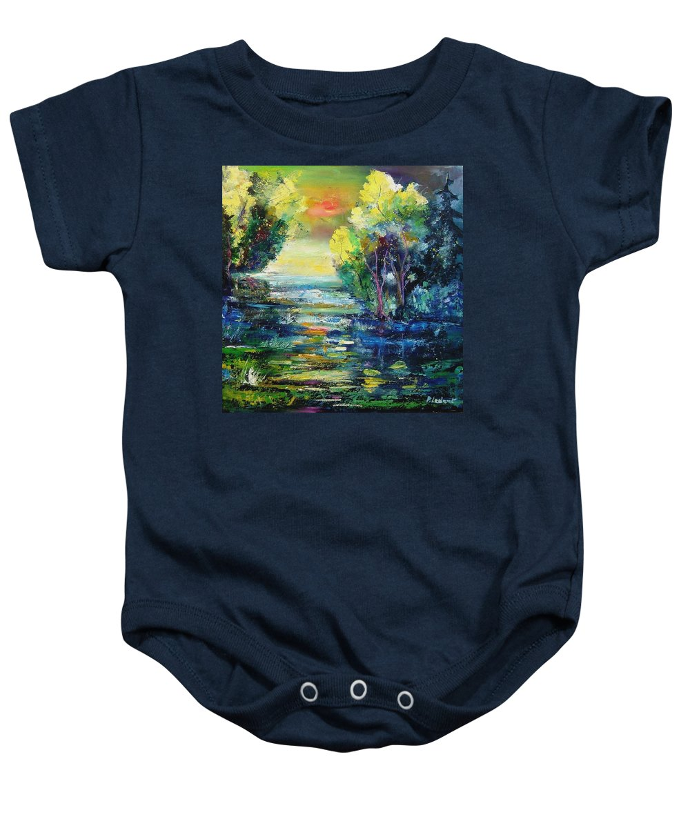 Pond Baby Onesie featuring the painting Magic pond by Pol Ledent