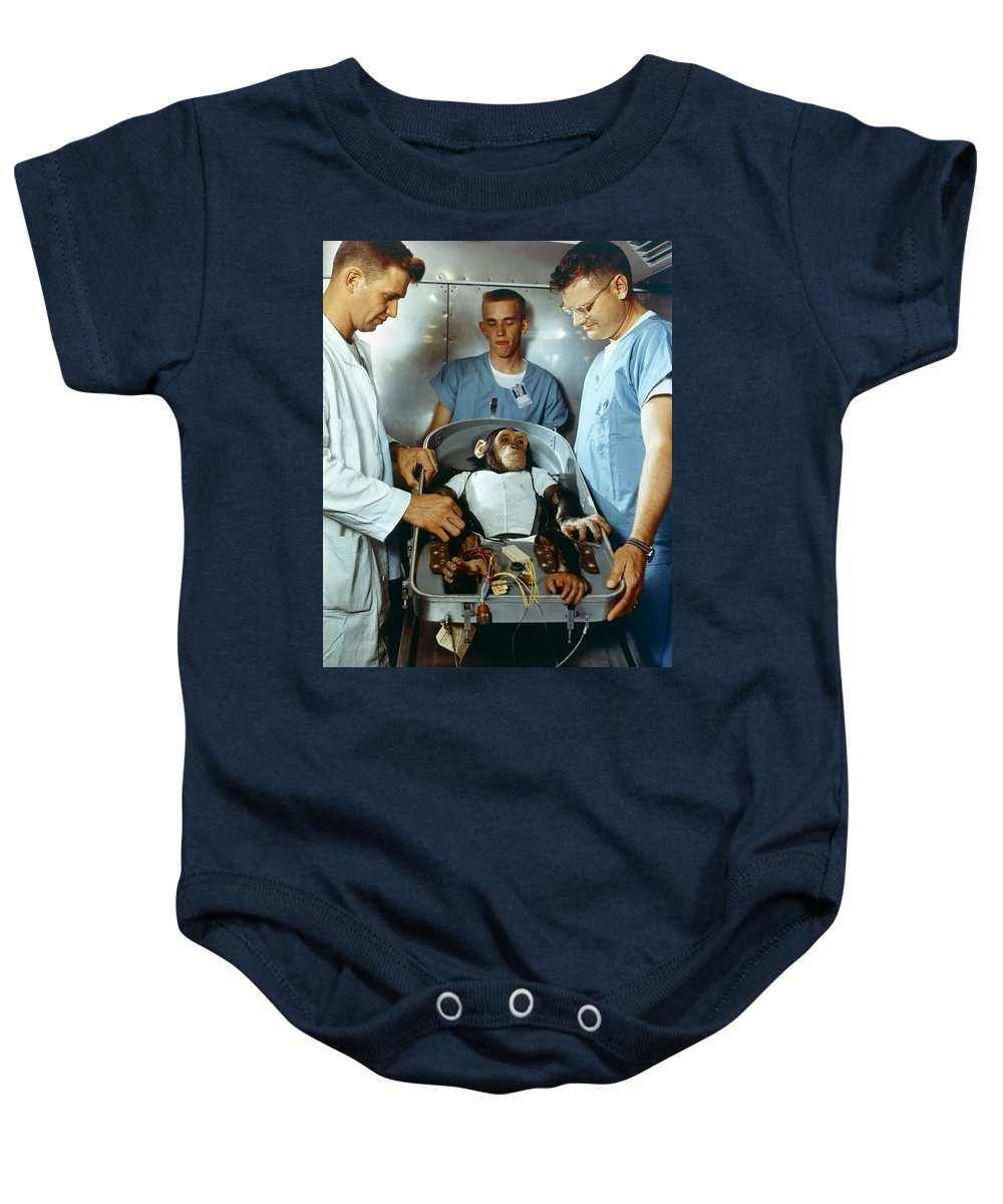 1961 Baby Onesie featuring the photograph Nasa Chimpanzee, 1961 by Granger