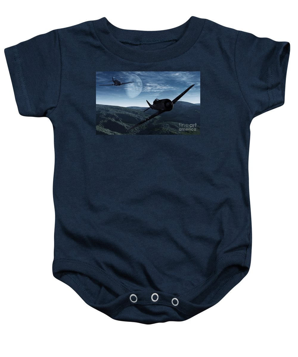 Dogfight Baby Onesie featuring the digital art Pursuit Of The Fox by Richard Rizzo