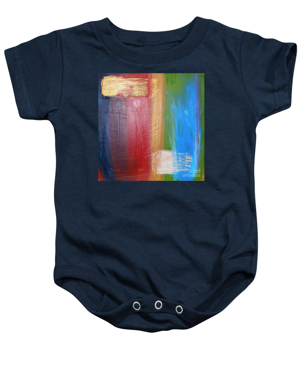 Rainbow Baby Onesie featuring the painting Radiance by Maria Bonnier-Perez