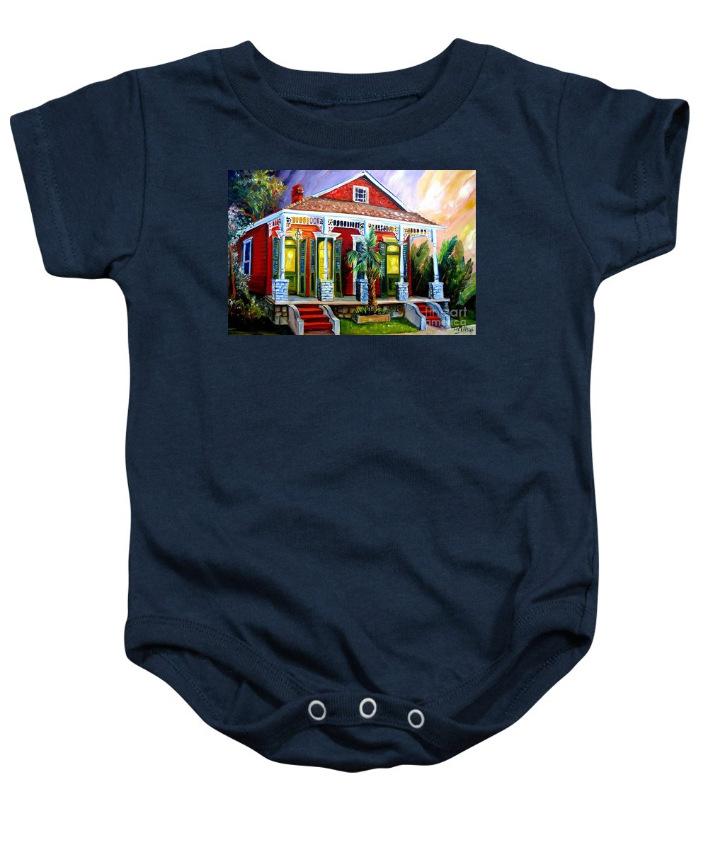 New Orleans Baby Onesie featuring the painting Red Shotgun House by Diane Millsap