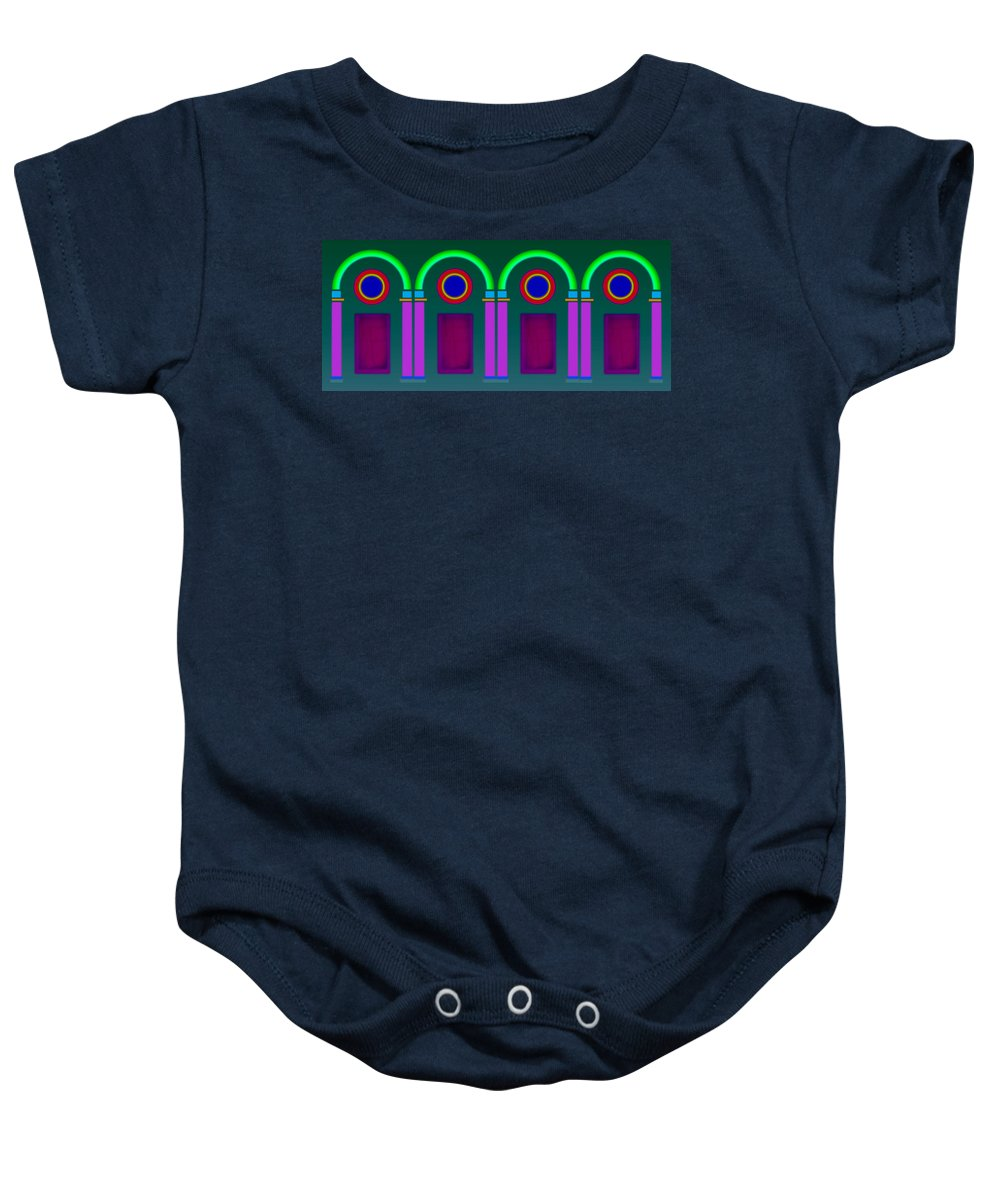 Classical Baby Onesie featuring the painting Roman Architecture by Charles Stuart