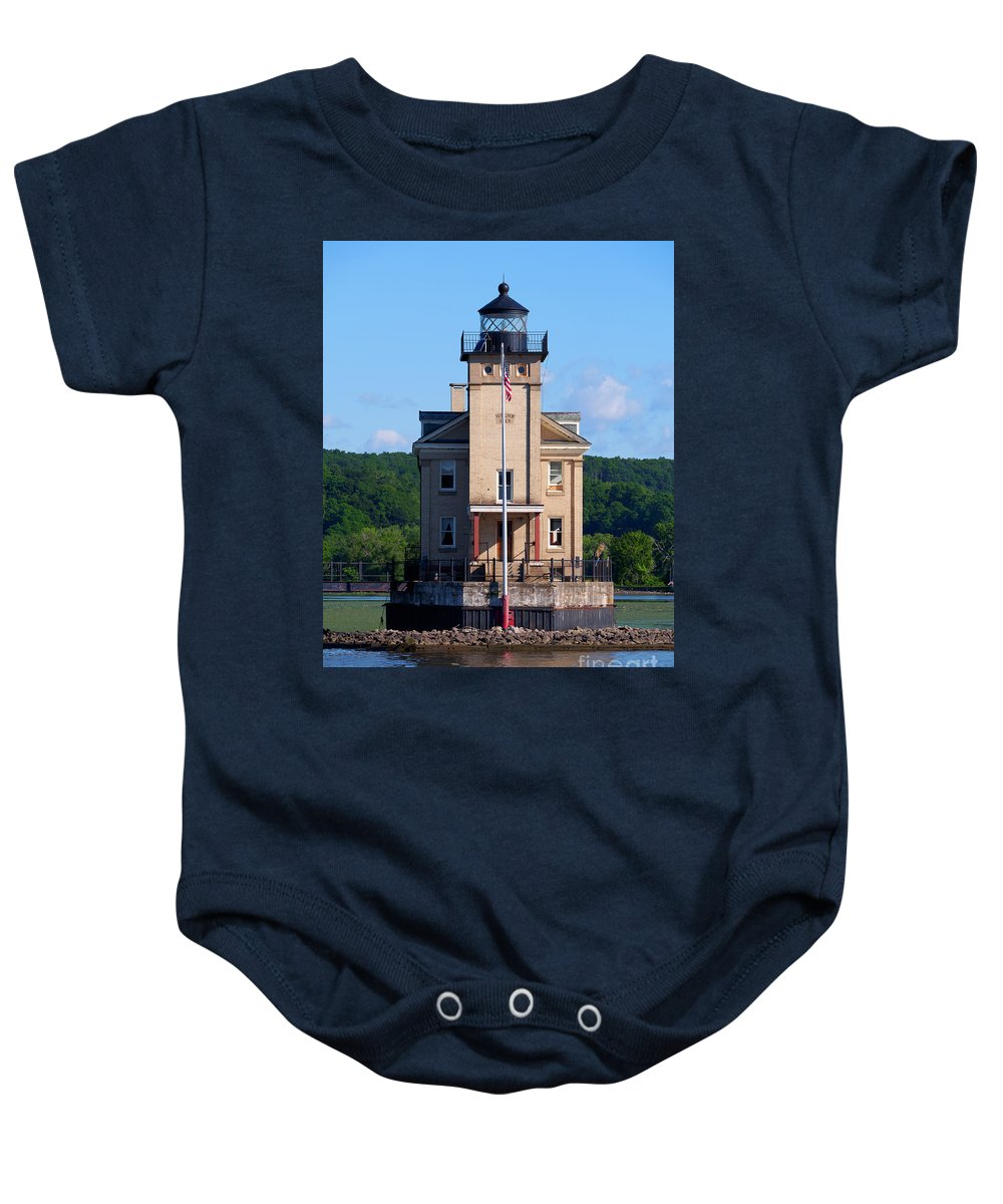 Rondout Lighthouse Baby Onesie featuring the photograph Rondout Lighthouse On The Hudson River New York by Louise Heusinkveld