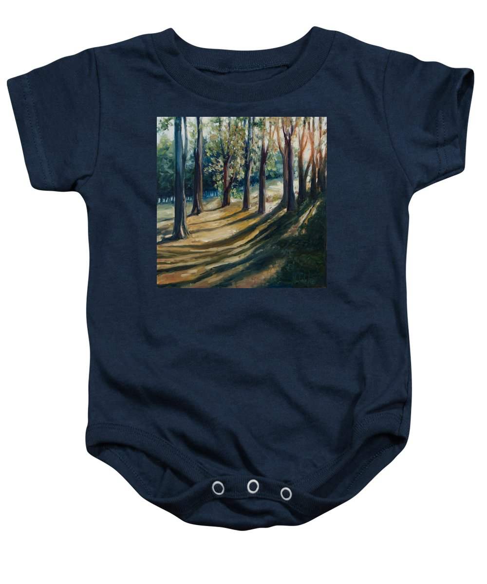 Trees Baby Onesie featuring the painting Shadows by Rick Nederlof