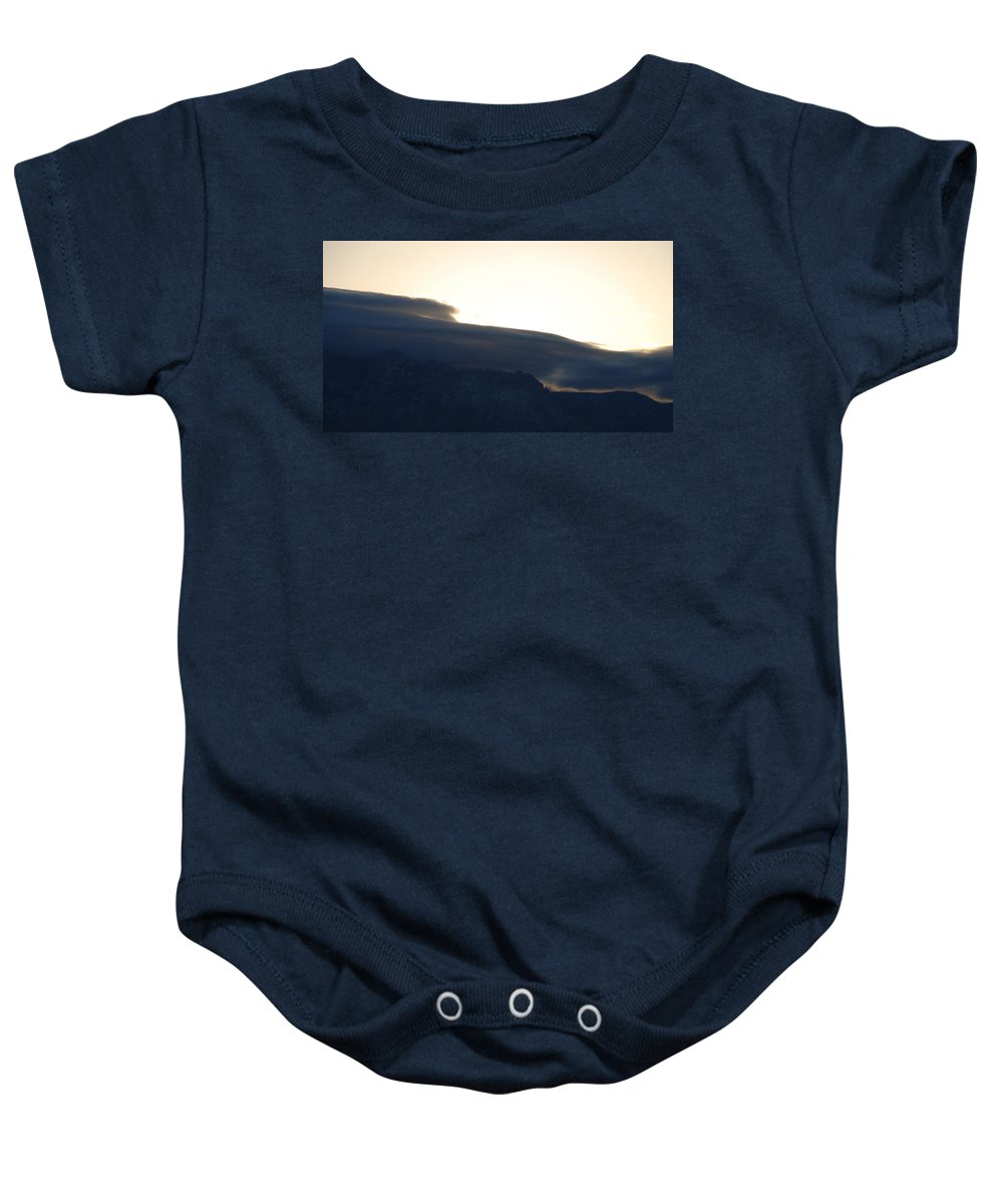 Sunrise Baby Onesie featuring the photograph Sunrise Over The Sandias by Rob Hans