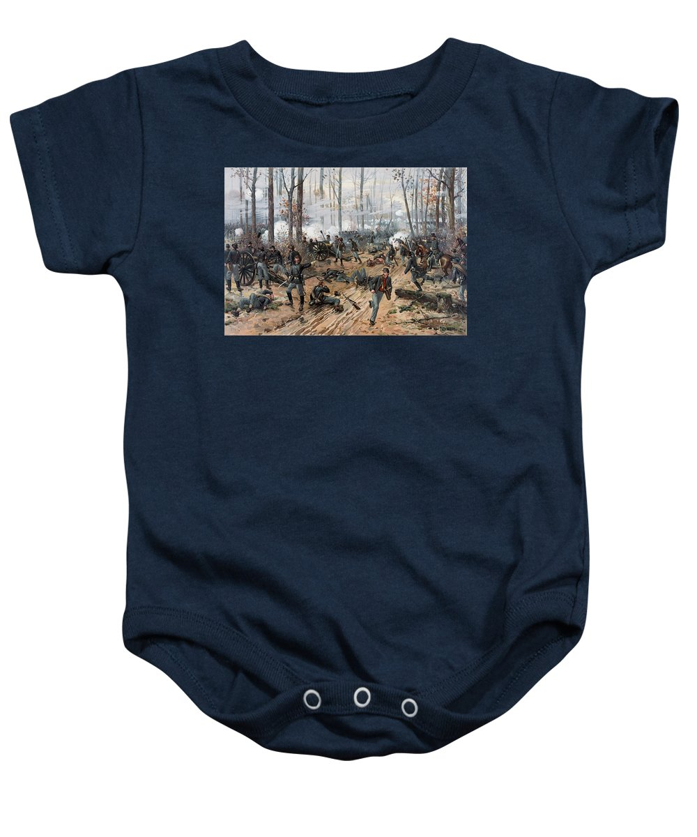 Civil War Baby Onesie featuring the painting The Battle Of Shiloh by War Is Hell Store