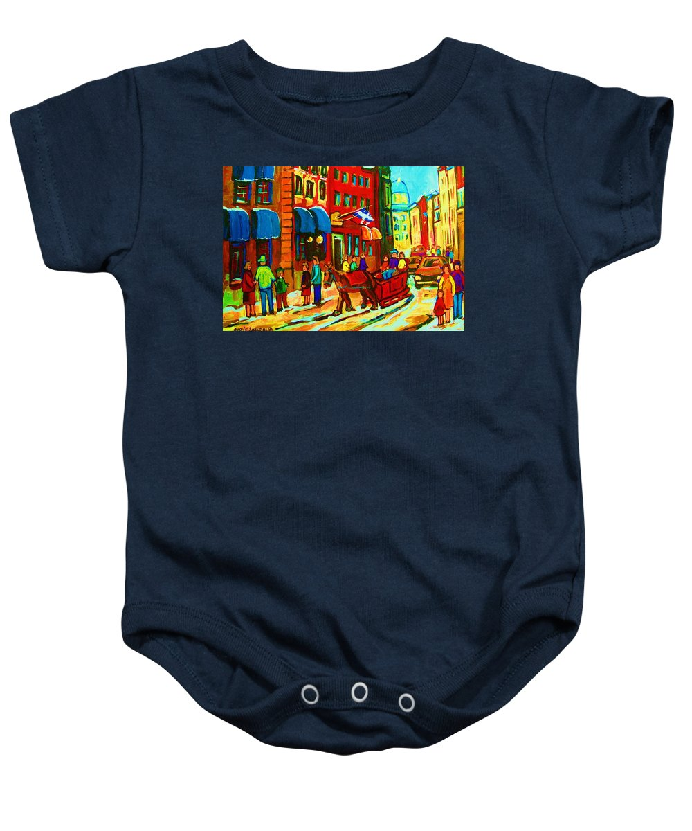Montreal Baby Onesie featuring the painting The Red Sled by Carole Spandau