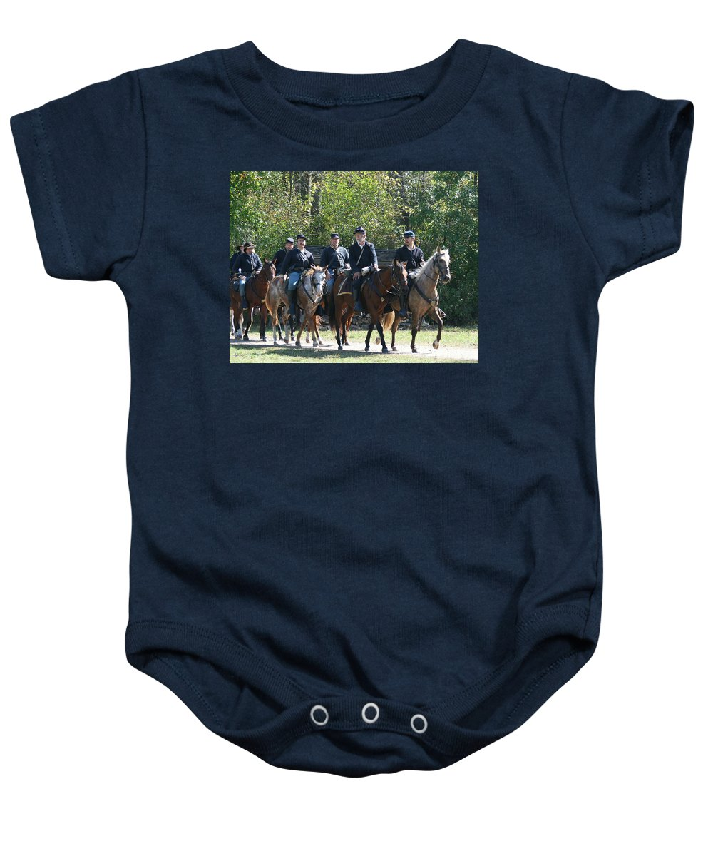Union Baby Onesie featuring the photograph Union Cavalry by Tommy Anderson