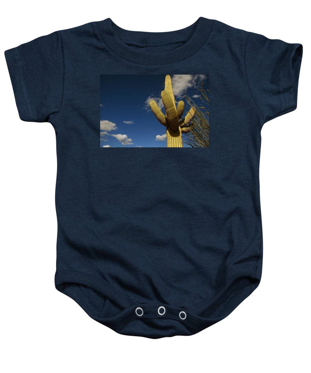 Saguaro Baby Onesie featuring the photograph Up To The Sky by Susanne Van Hulst