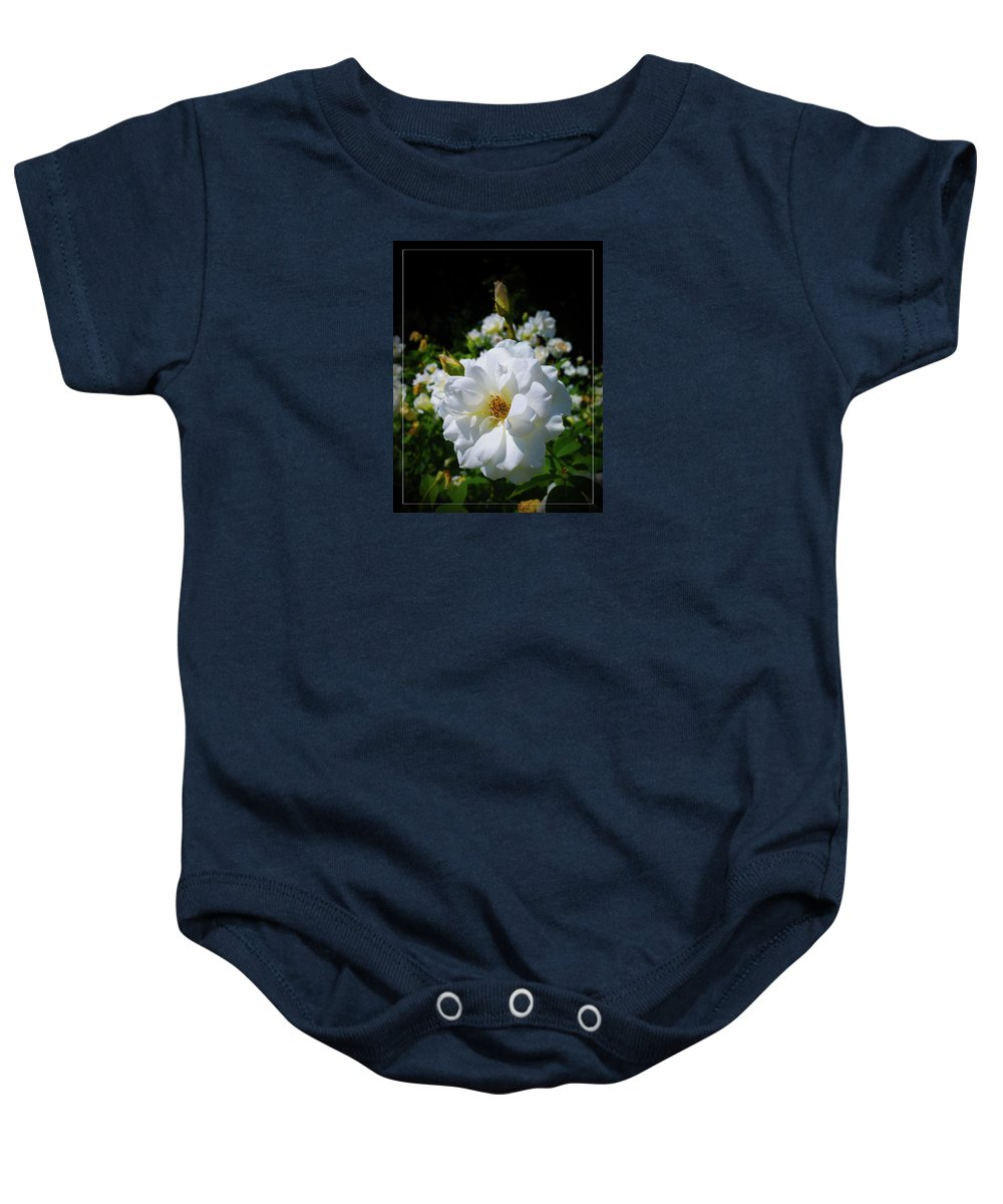 White Baby Onesie featuring the photograph White Rose by Alexey Dubrovin