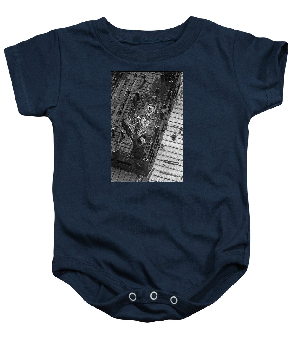World Trade Center Construction Black And White View From Tower 1967 Baby Onesie featuring the photograph World Trade Center Under Construction 1967 by Bob Bennett